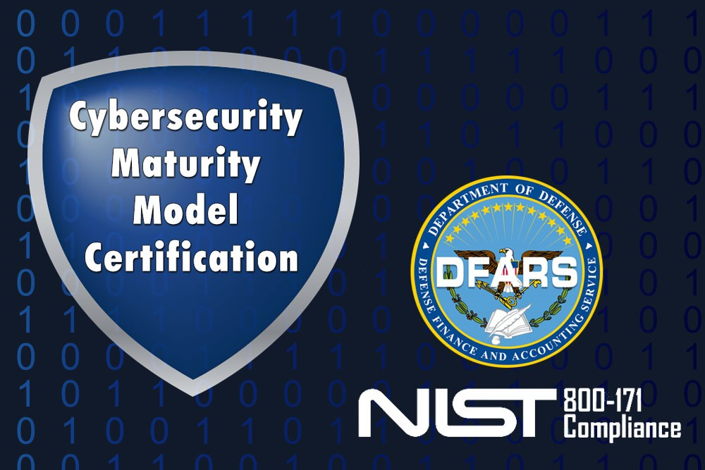 cybersecurity maturity model CMMC certification and audit logo with DFARS and NIST 800-171
