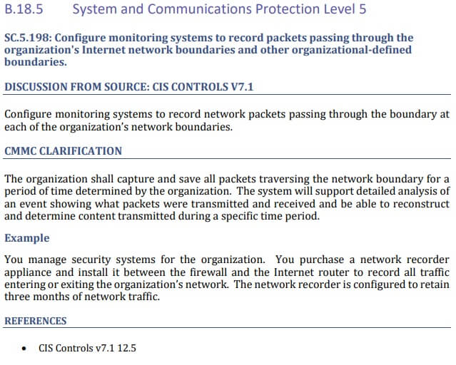 Screen shot of additional guidance for control B.18.5 Systems and Communications Level 5 from CMMC version 1.0 document