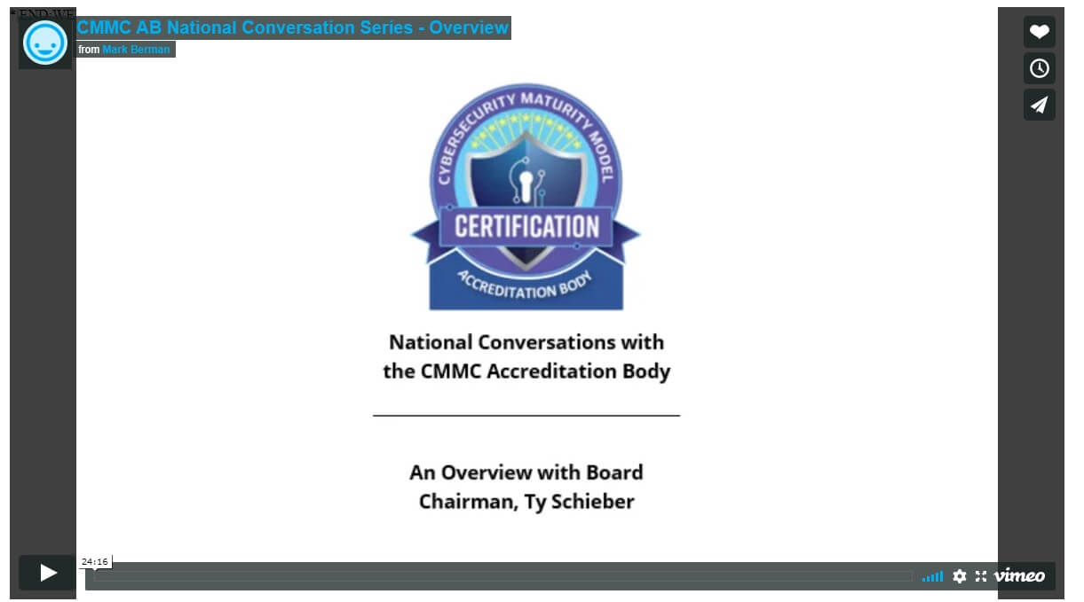 Screenshot of CMMCAB webinar national conversation