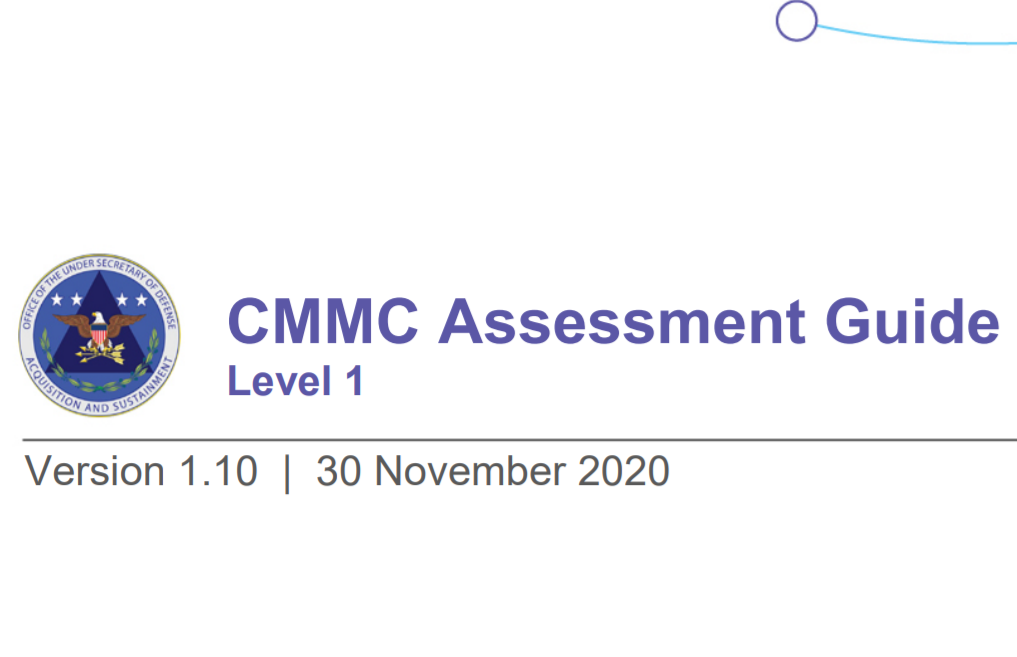 Image of the CMMC assessment guide level 1 version 1.10 from 30 november 2020