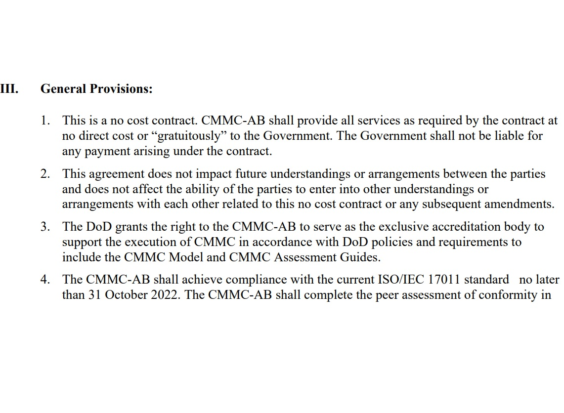Picture showing a small portion of the CMMC-AB statement of work, which requires a no-cost contract, grants exclusivity, and requires compliance with ISO/IEC 17011