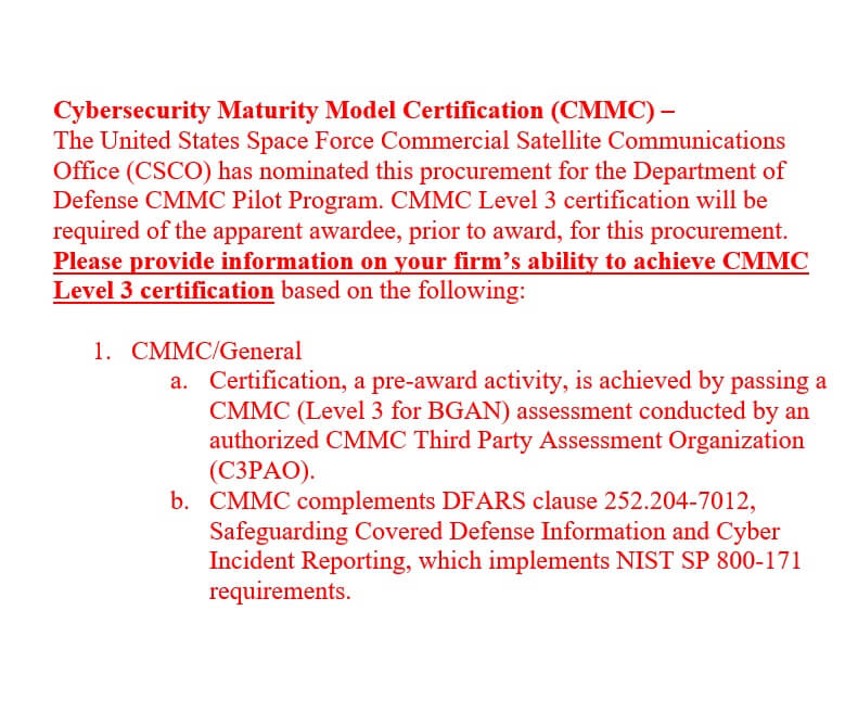 CMMC language text inside first pilot contract by the Space Force 2021