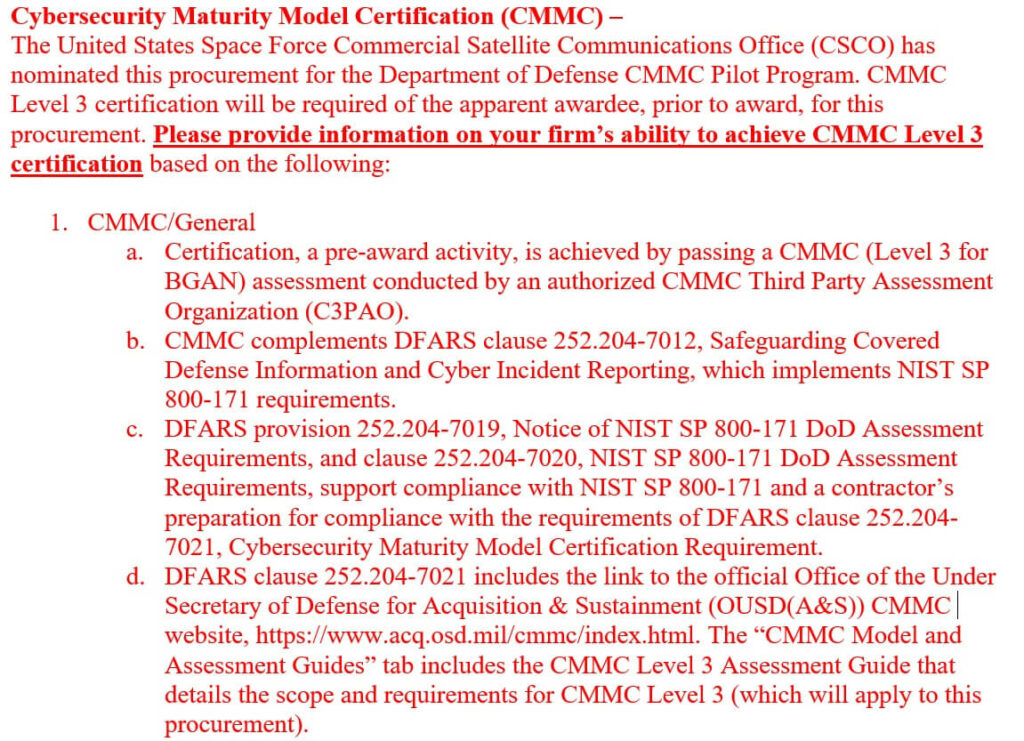 CMMC contract RFI for the Space Force satellite office requires Level 3