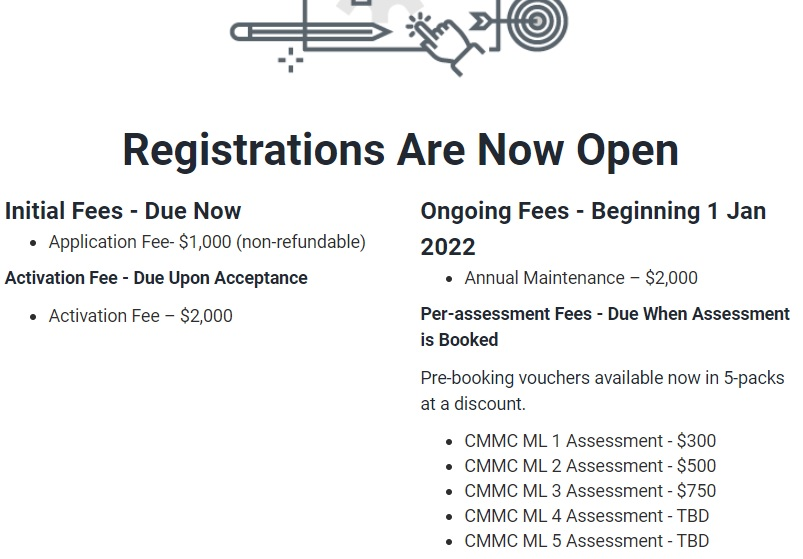 text from cmmc-ab website showing fees for C3PAOs