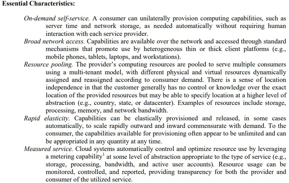 NIST SP 800-145 definition of cloud computing which identifies whether a third party provider requires FedRAMP moderate